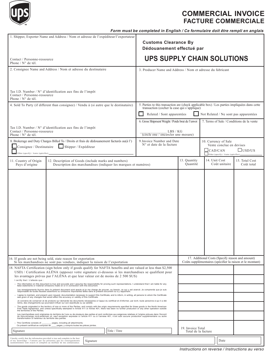 Fillable Commercial Invoice Pdf