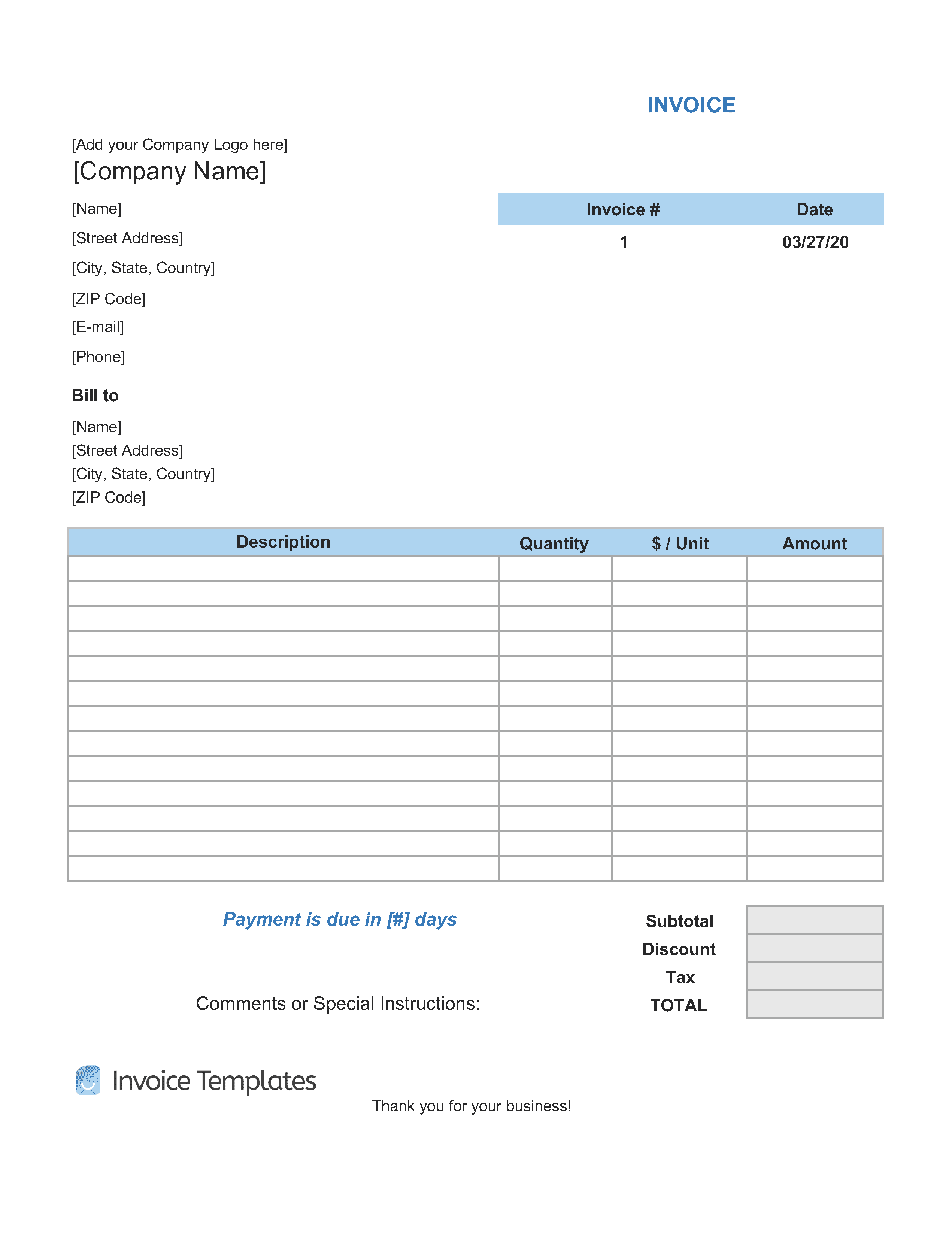 Fillable Pdf Downloadable Blank Invoice Template