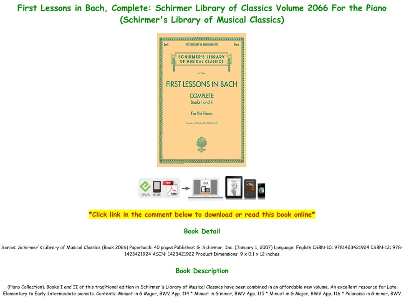 First Lessons In Bach Pdf Download