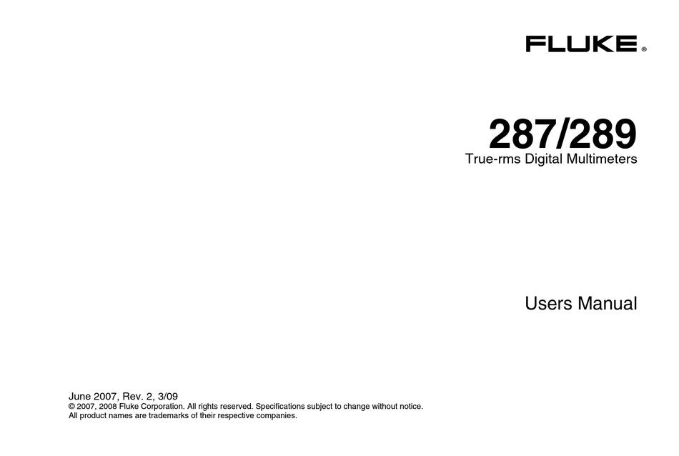Fluke 289 Manual Pdf