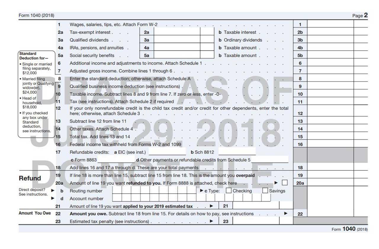 Form 1040a 2018 Pdf