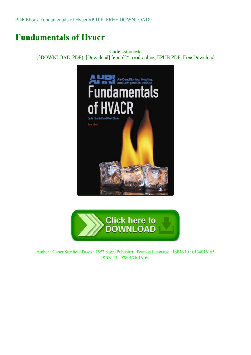 Fundamentals Of Hvacr 2nd Edition Pdf Free Download