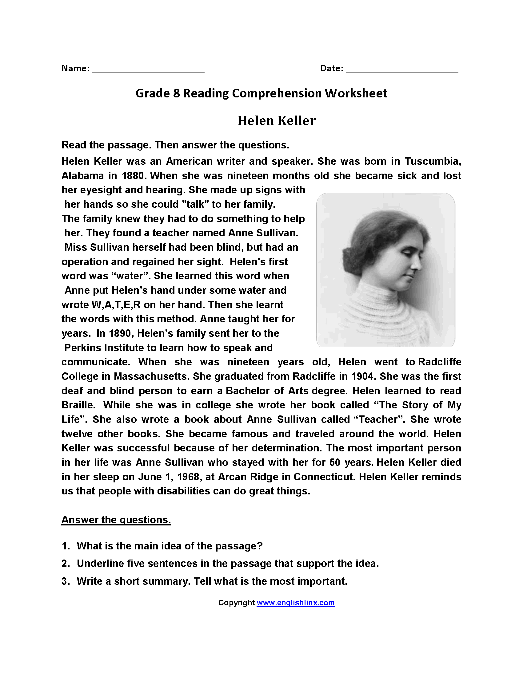 Helen Keller Short Biography Pdf