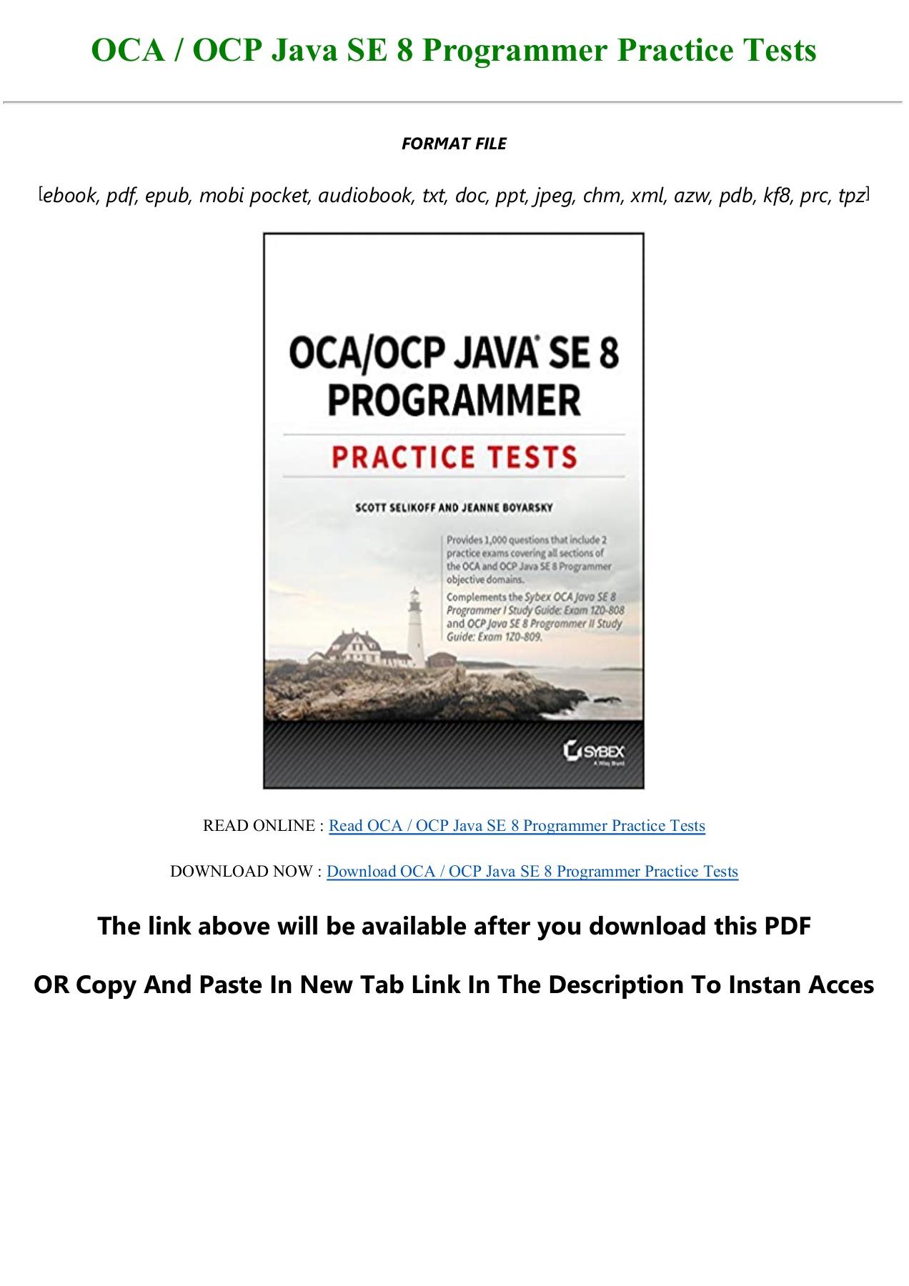 Java Se 8 Programmer Practice Tests Pdf