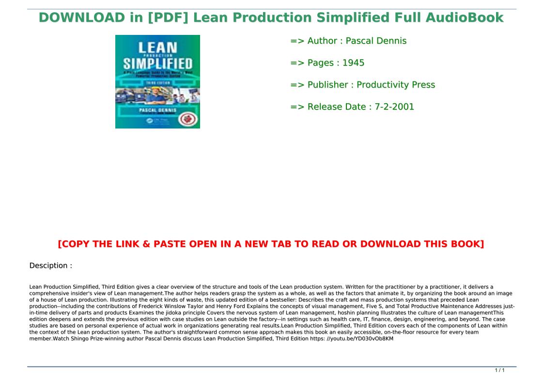 Lean Production Simplified Pdf