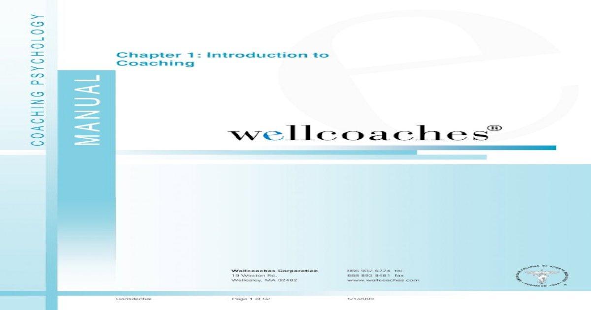 Wellcoaches Coaching Psychology Manual Pdf