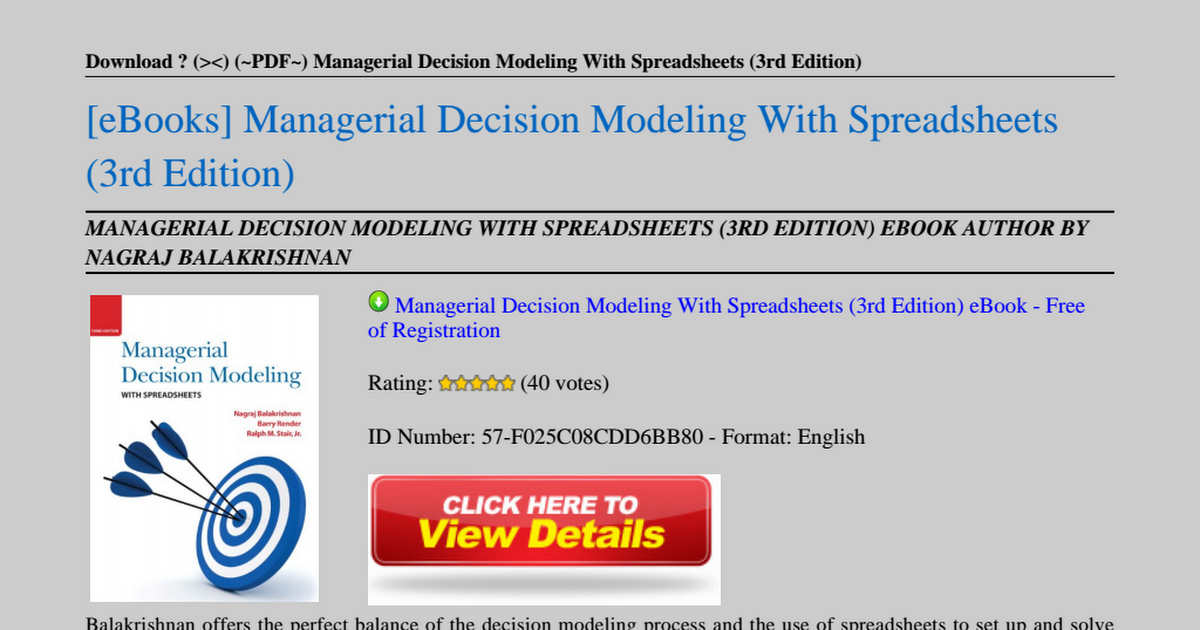 Managerial Decision Modeling 3rd Edition Pdf