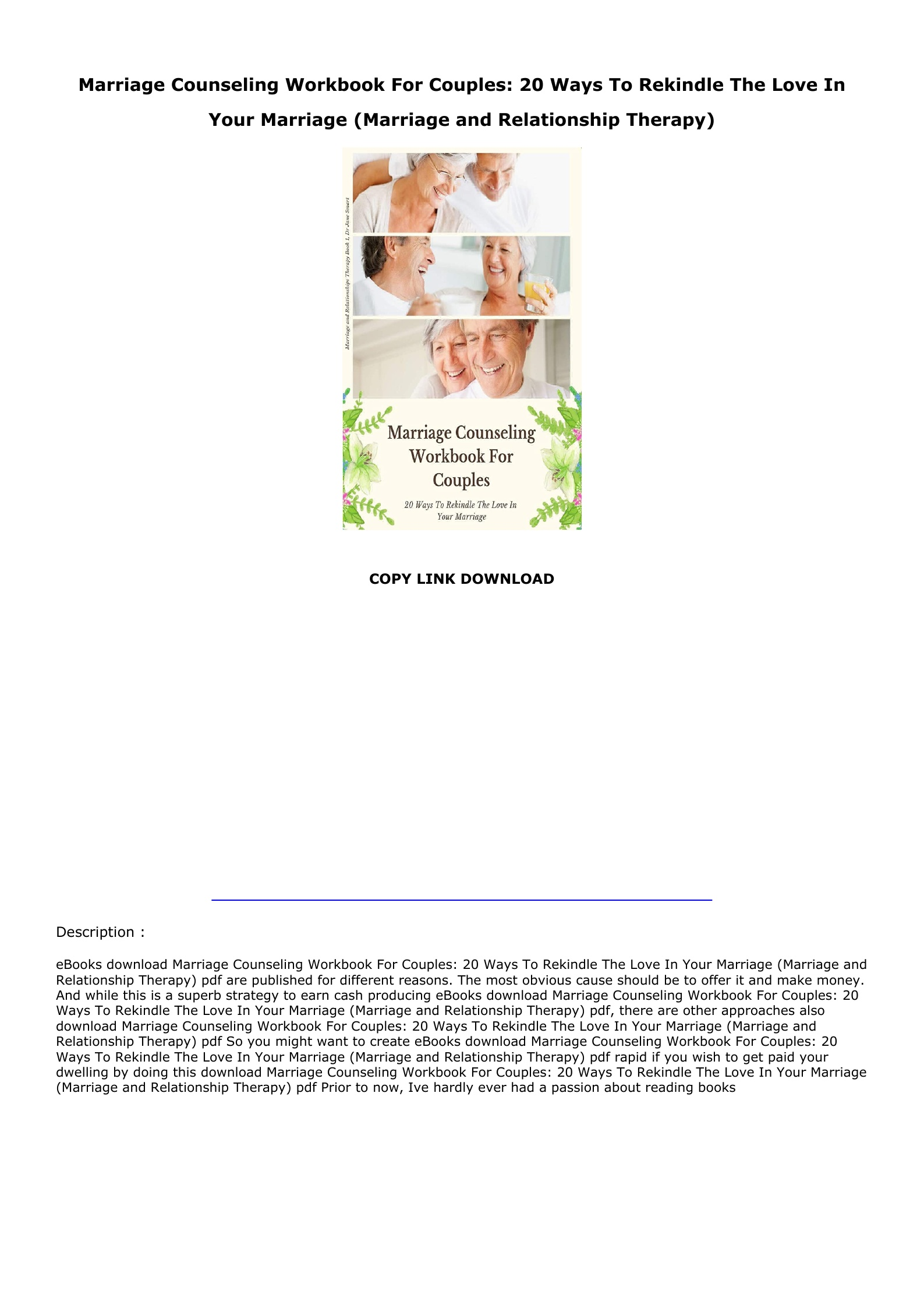 Marriage Counseling Workbook Pdf