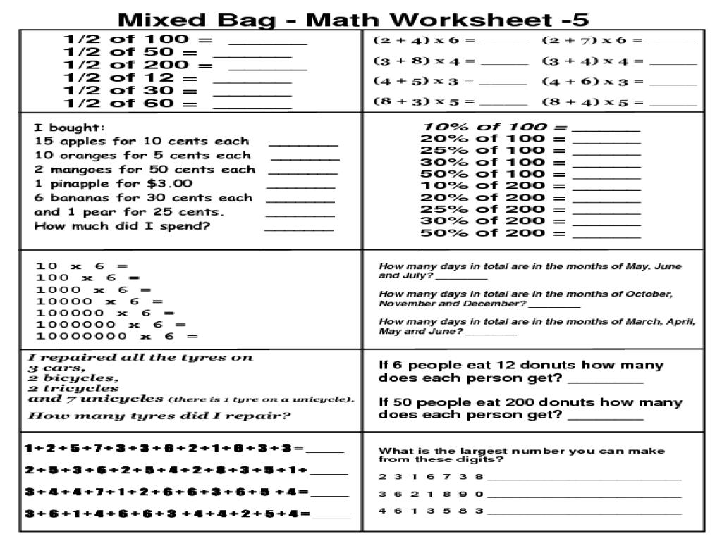 Mountain Math 4th Grade Worksheet Pdf