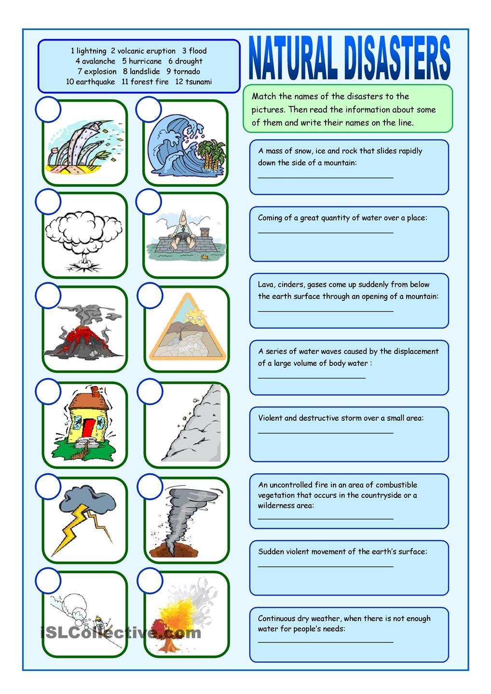 Natural Disasters Activities Worksheets Pdf