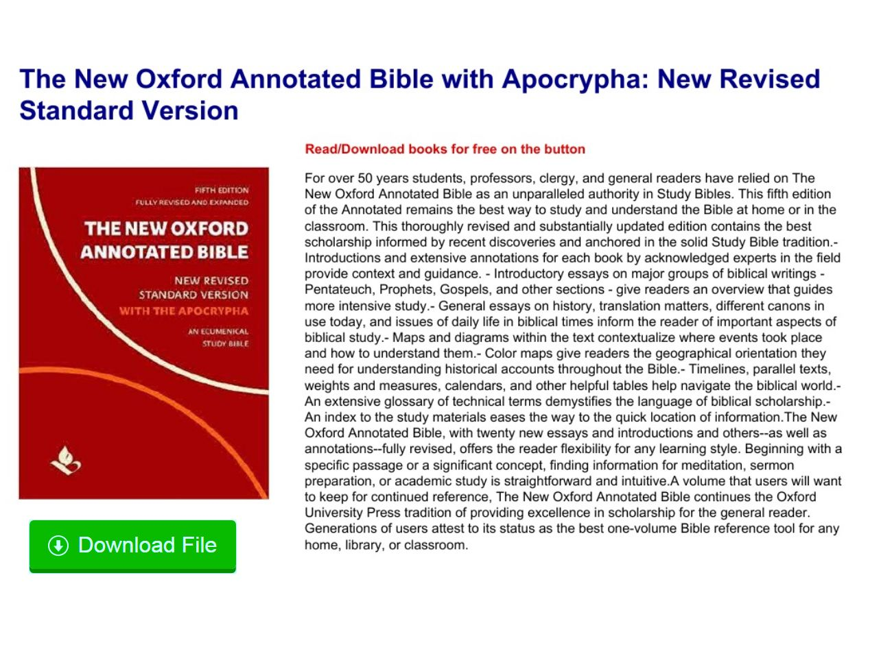 New Oxford Annotated Bible With Apocrypha Pdf