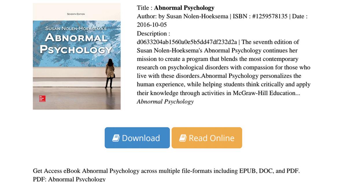 Nolen Hoeksema Abnormal Psychology Pdf
