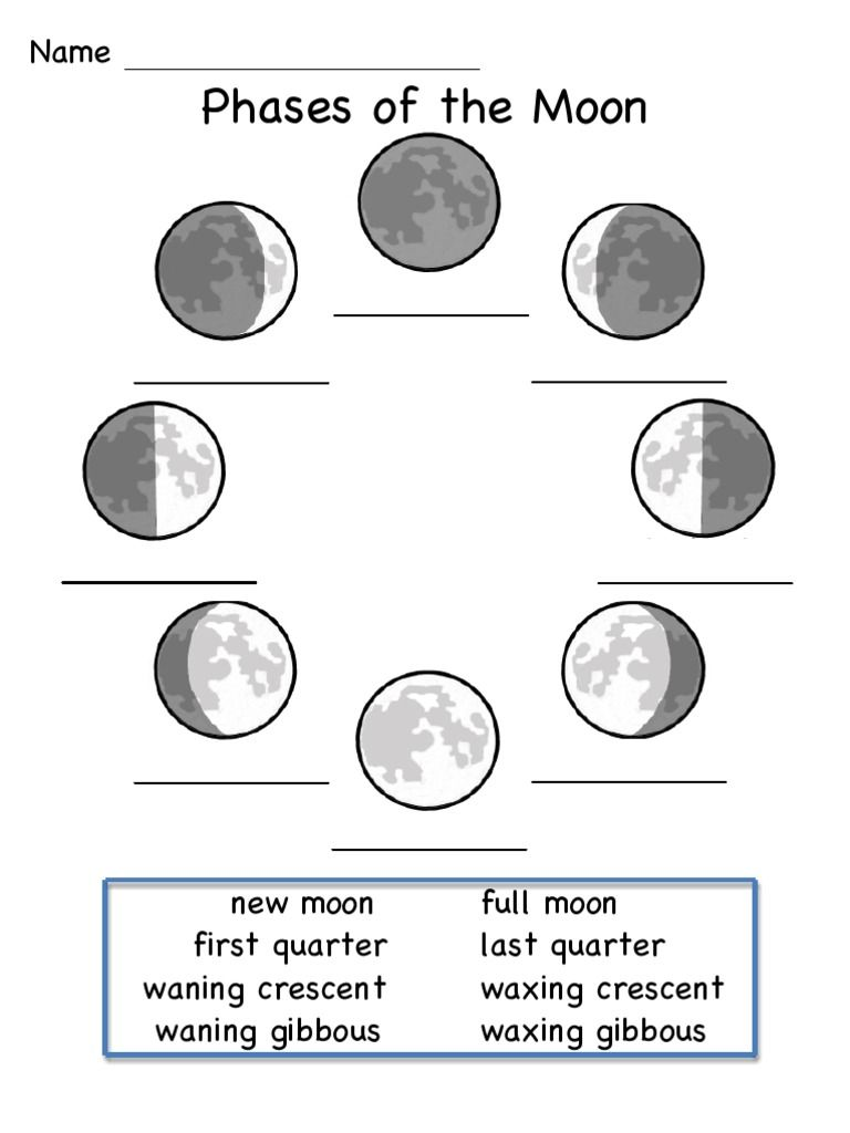 Phases Of The Moon Printable Worksheets Pdf